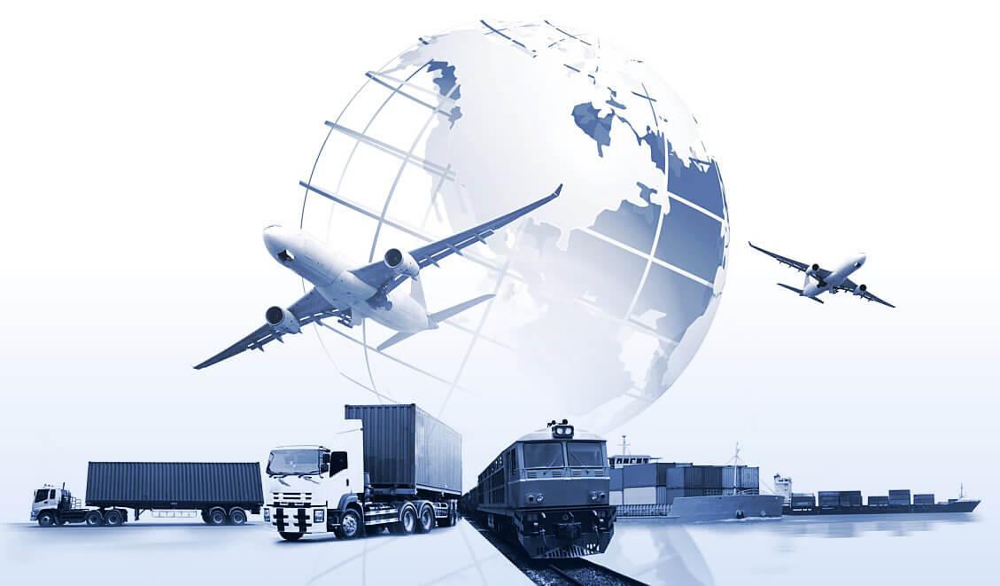 logistics in different method of transportation concept