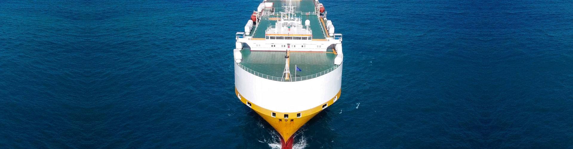 large roro vessel cruising the Mediterranean sea